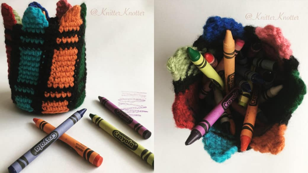 Colorful crayon holder – Free pattern!