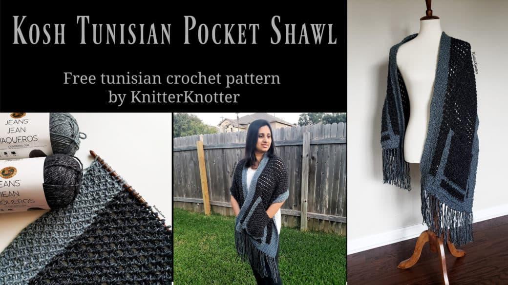 Tunisian Boho Pocket Shawl – Free Crochet Pattern!