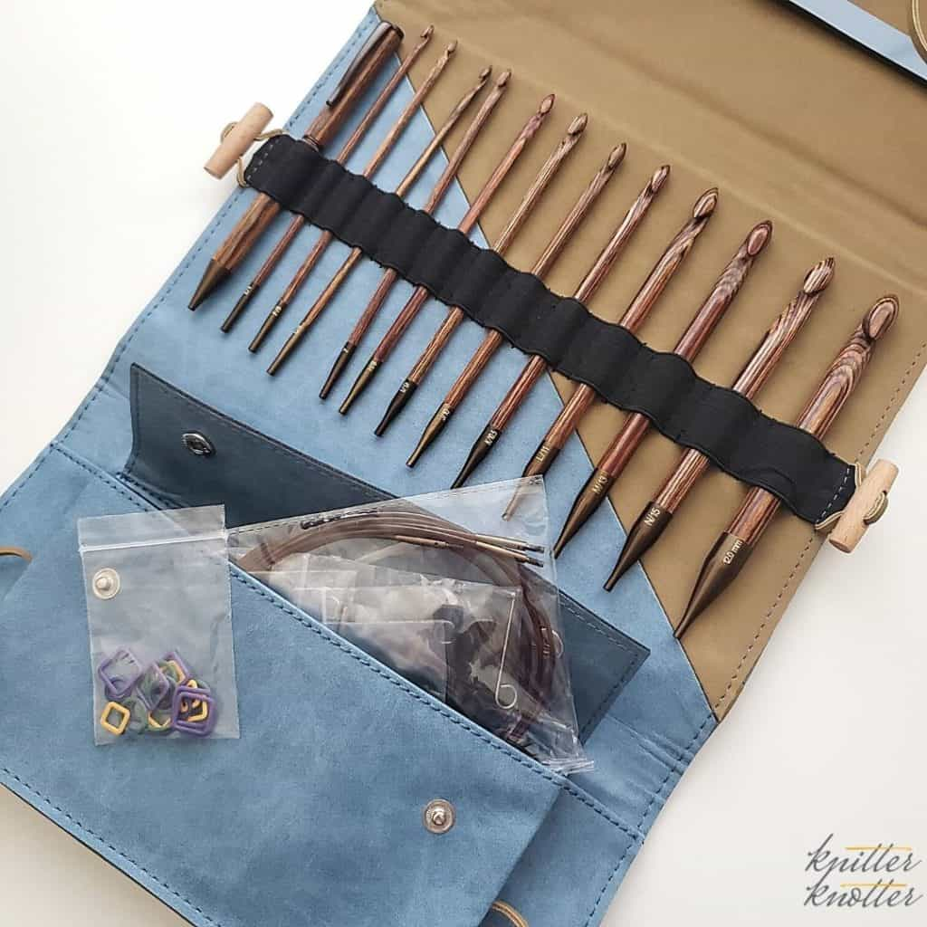 Tunisian crochet ginger set review - 12 hooks, a pen, cords and stitch markers
