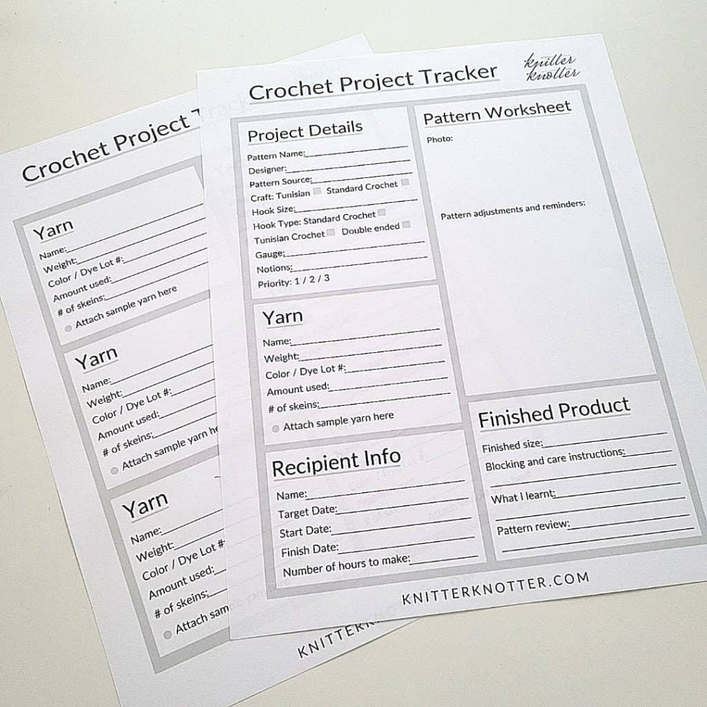 Print these crochet project trackers and make a journal. This template can be used for any crochet projects - including Tunisian crochet.