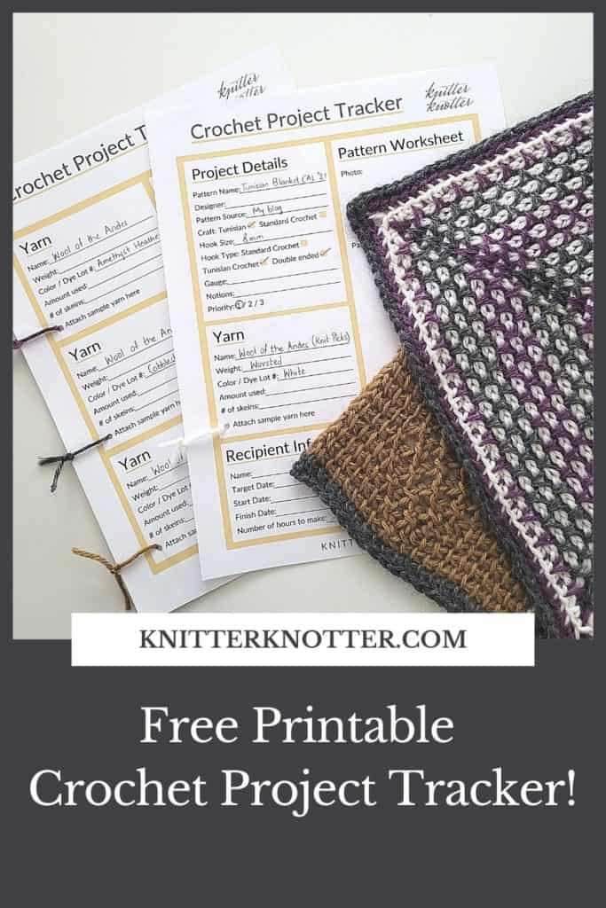 Make a crochet project journal by keeping track of all your WIPs. Pin this image and save it for later.   This page lets you download the free PDF that is ready to print and use!