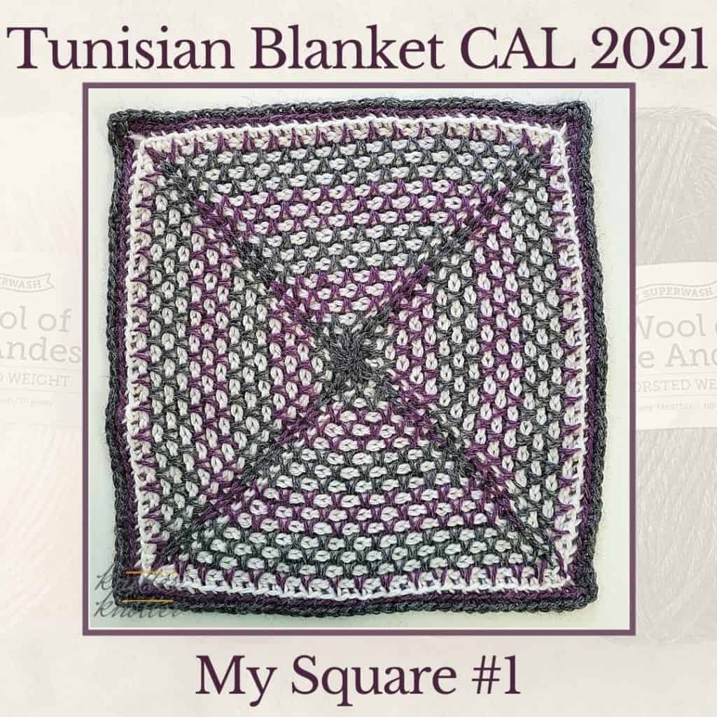 Afghan stitch and twisted tunisian simple stitch - used to make the first square of the Tunisian Blanket CAL of 2021.