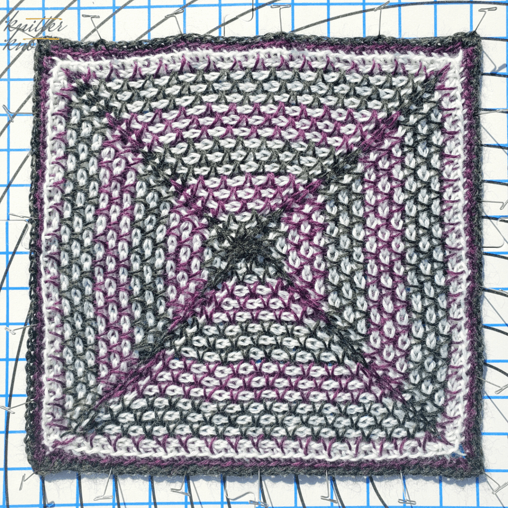 Blocking the afghan stitch and twisted afghan stitch pattern designed by Rachel Henri for the 2021 CAL hosted by KnitterKnotter