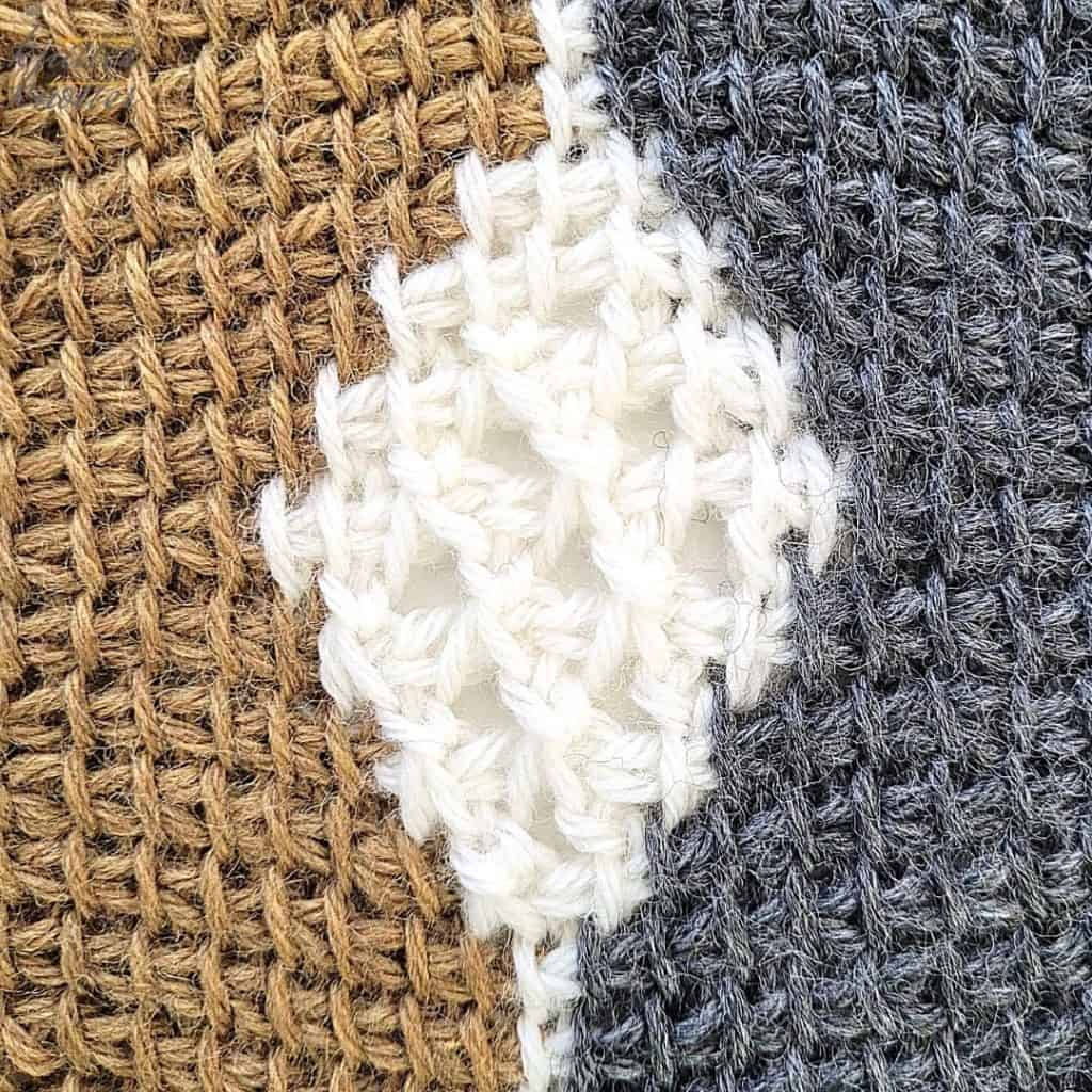 Close up of the second block of the crochet afghan from KnitterKnotter Blanket CAL of 2021