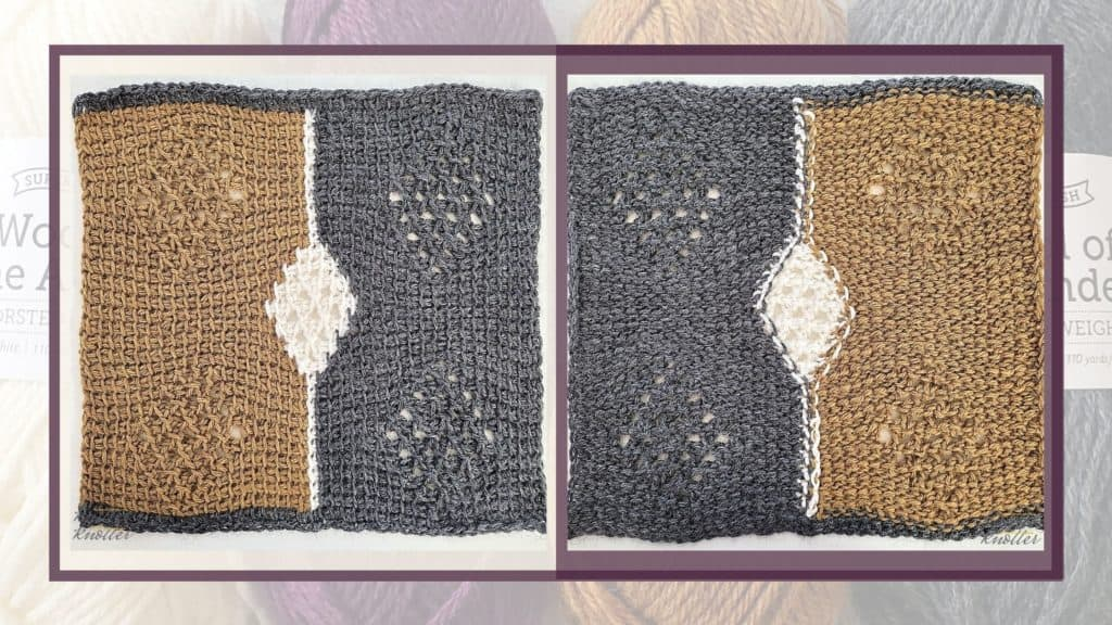 The front and back of the square designed by Hayley Joanne Robinson - one of the 24 tunisian crochet square patterns that are a part of the Tunisian CAL of 2021 hosted by KnitterKnotter