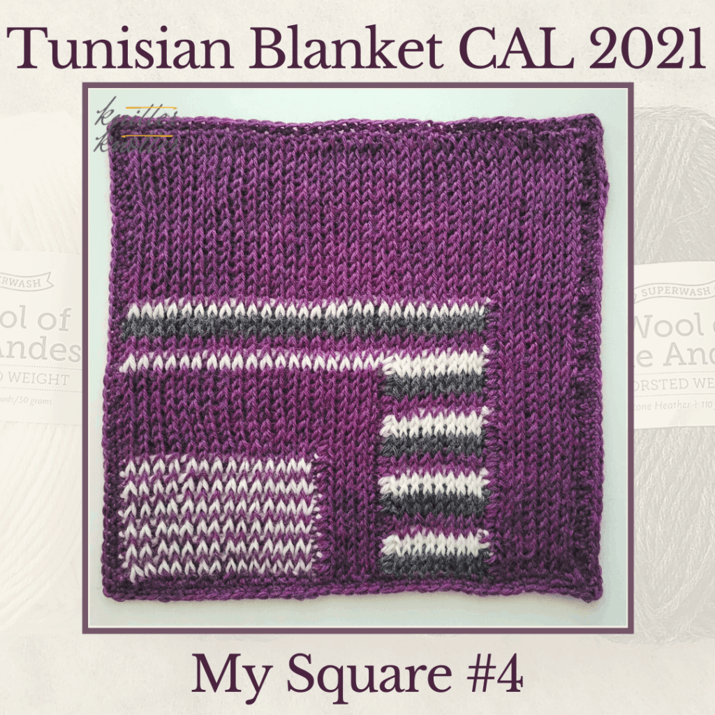 Tunisian Knit and Purl Stitches are used with color work to create the mitered square #4 of the Tunisian Blanket CAL of 2021.