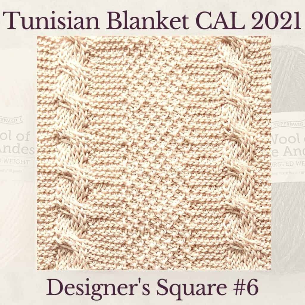 The sixth square crochet afghan pattern from the KnitterKnotter blanket CAL of 2021