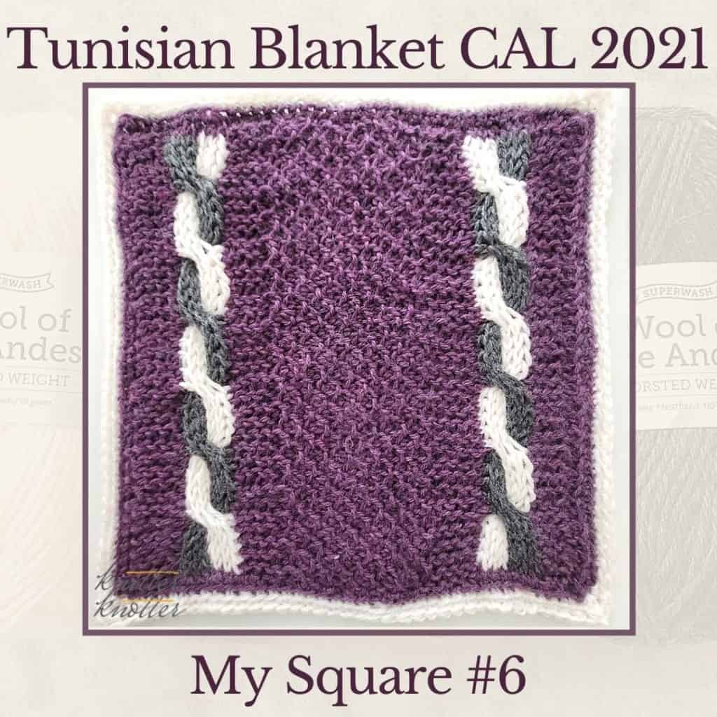 Tunisian Purl and Honeycomb Stitches work together with Tunisian Cables to create the sixth square of the Tunisian Blanket CAL of 2021.