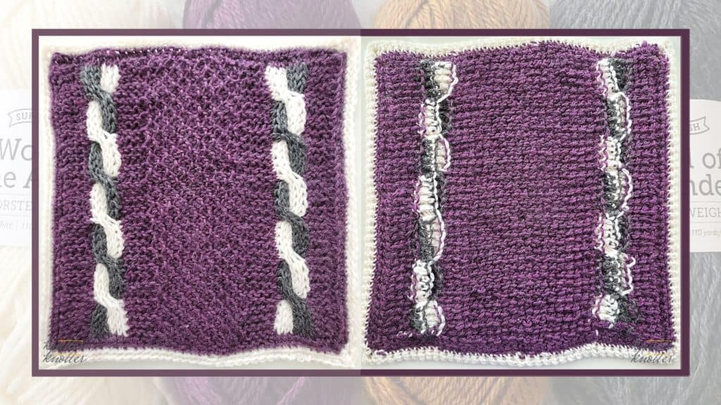 Front and back of the sixth square of the 2021 CAL hosted by KnitterKnotter