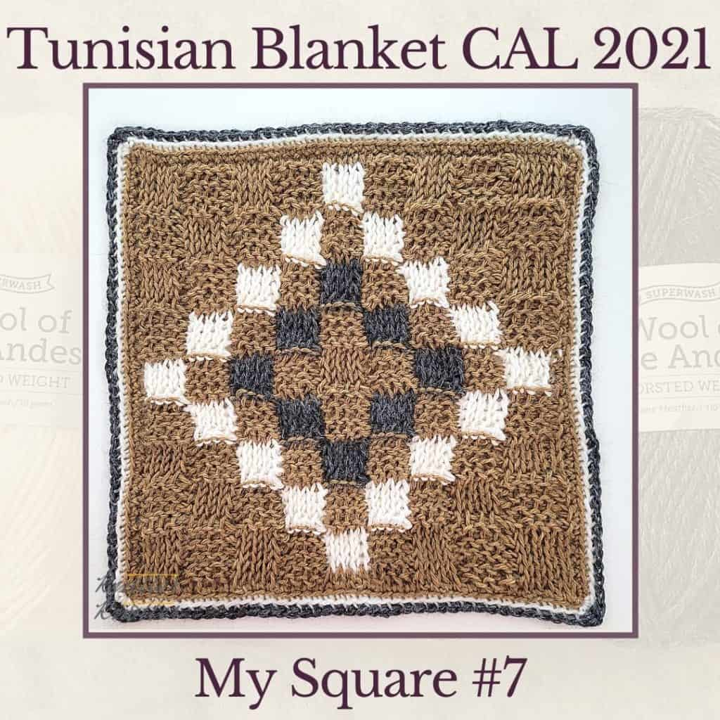 Basket weave stitch combined with colorwork make the diamond pattern on the seventh mosaic square of the Tunisian Blanket CAL of 2021.