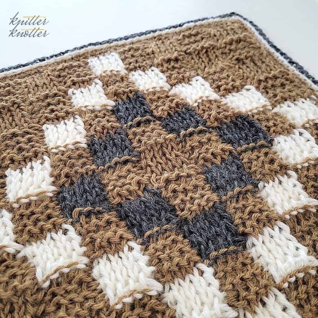 Crochet stitches for blankets - used Tunisian Purl stitch and Tunisian Knit Stitch to create the basketweave pattern