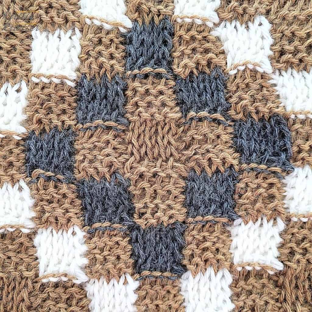 Close up of the seventh block of the crochet afghan from KnitterKnotter Blanket CAL of 2021