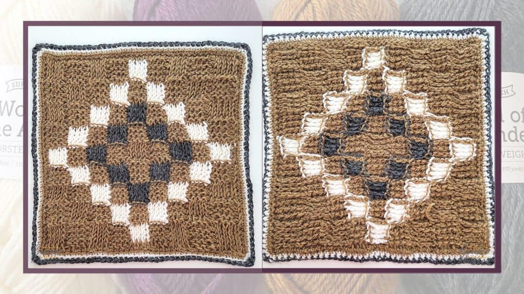 Front and Back of the seventh square of  the 2021 CAL hosted by Knitter Knotter.