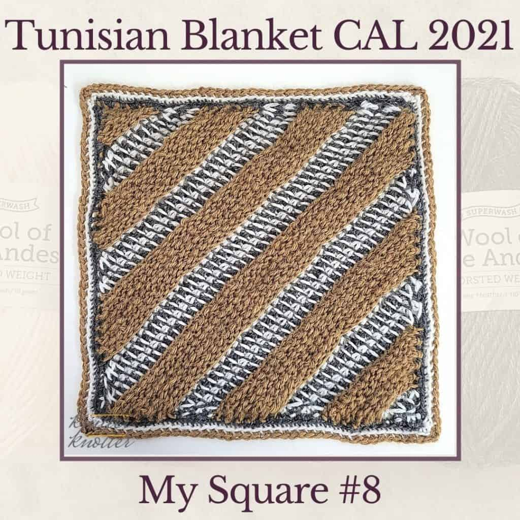 Tunisian simple stitches worked sideways to create diagonal stripes for the eigth square of the Tunisian Blanket CAL of 2021.