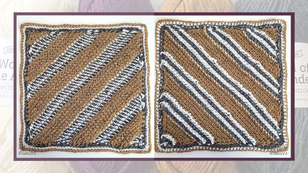 Front and back of the eighth square of the 2021 CAL hosted by KnitterKnotter