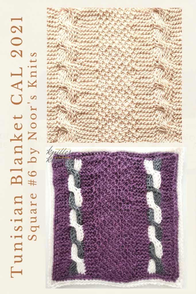 Pin for the sixth square of the Tunisian Blanket / Afghan CAL of 2021 hosted by KnitterKnotter - it is a cable square pattern that comes with full details about how many yards are needed to crochet the blanket.