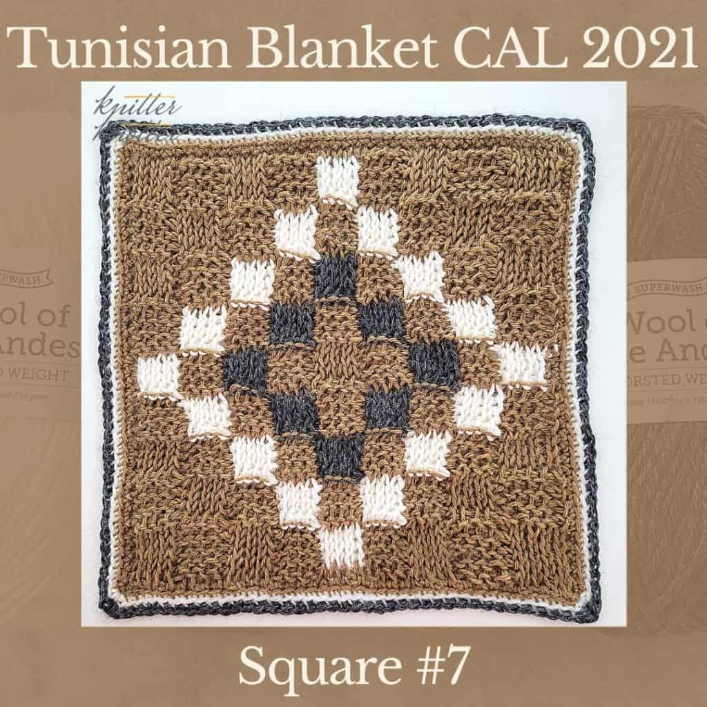 The seventh square of the Tunisian Sampler Blanket / Afghan CAL of 2021 hosted by KnitterKnotter.