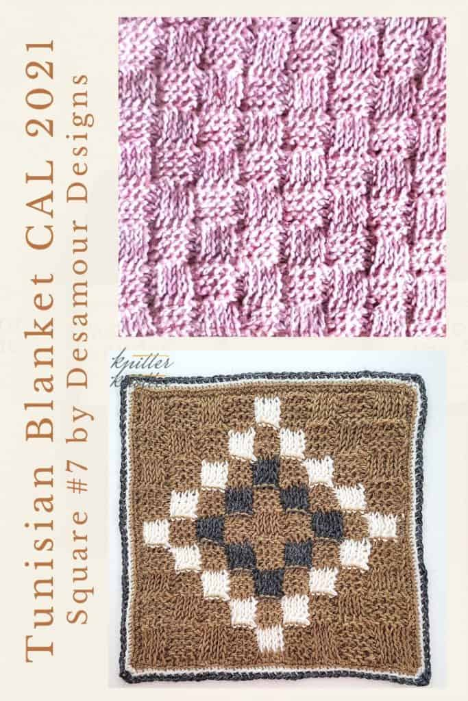 Pin for the seventh square of the Tunisian / Afghan CAL of 2021 Hosted by KnitterKnotter - it is a basketweave square pattern that comes with full details about how many yards are needed to crochet a blanket.