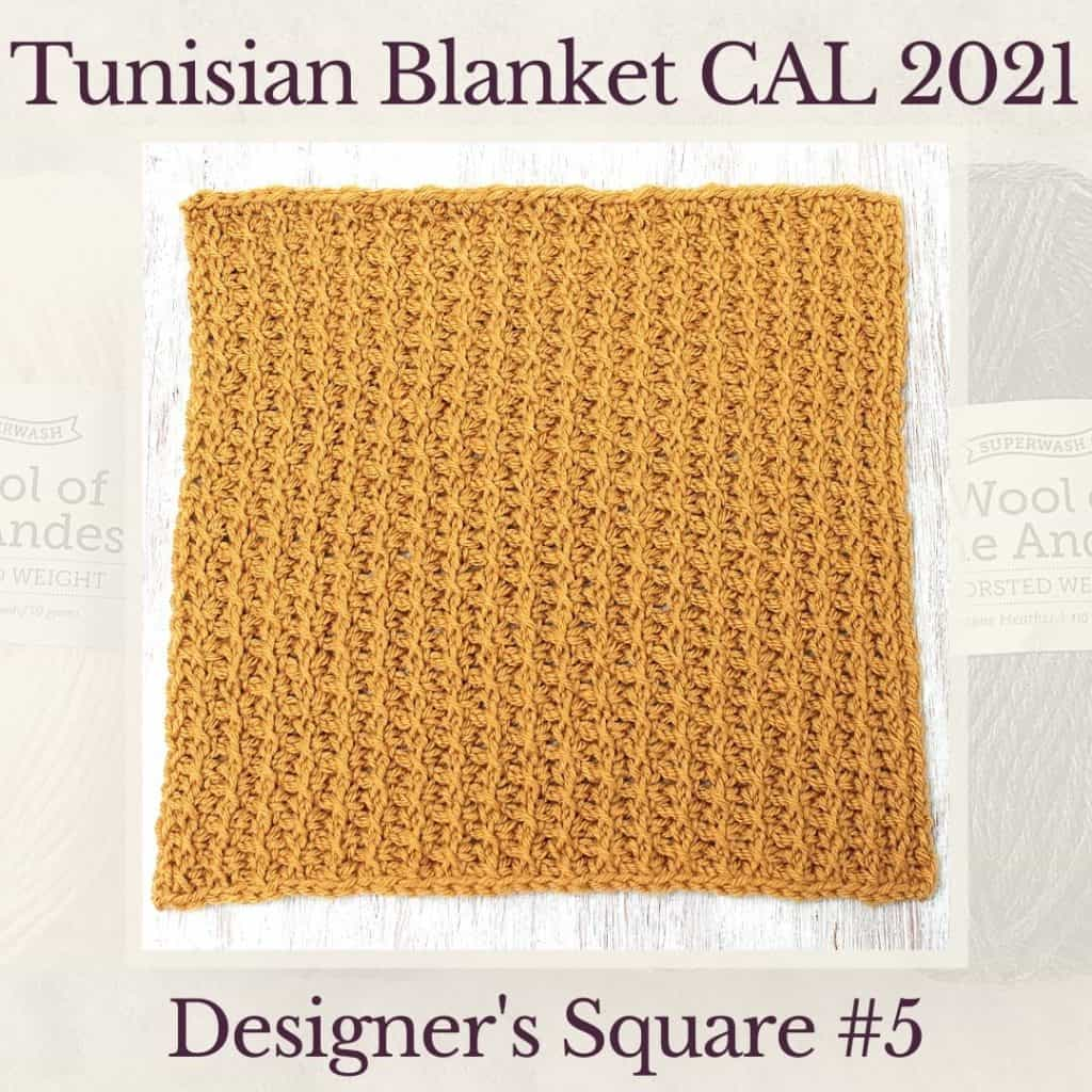 The fifth square crochet afghan pattern from the KnitterKnotter blanket CAL of 2021