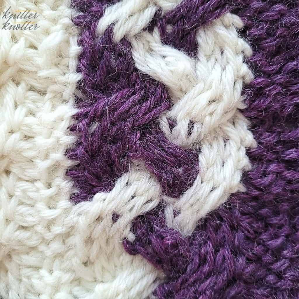 Close up of the center cable from the 9th block of the Tunisian Blanket CAL of 2021 hosted by KnitterKnotter