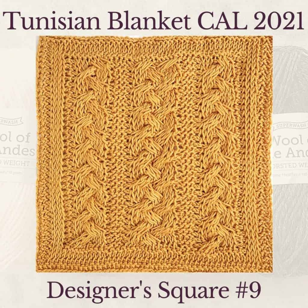 The ninth square crochet afghan pattern from the KnitterKnotter blanket CAL of 2021
