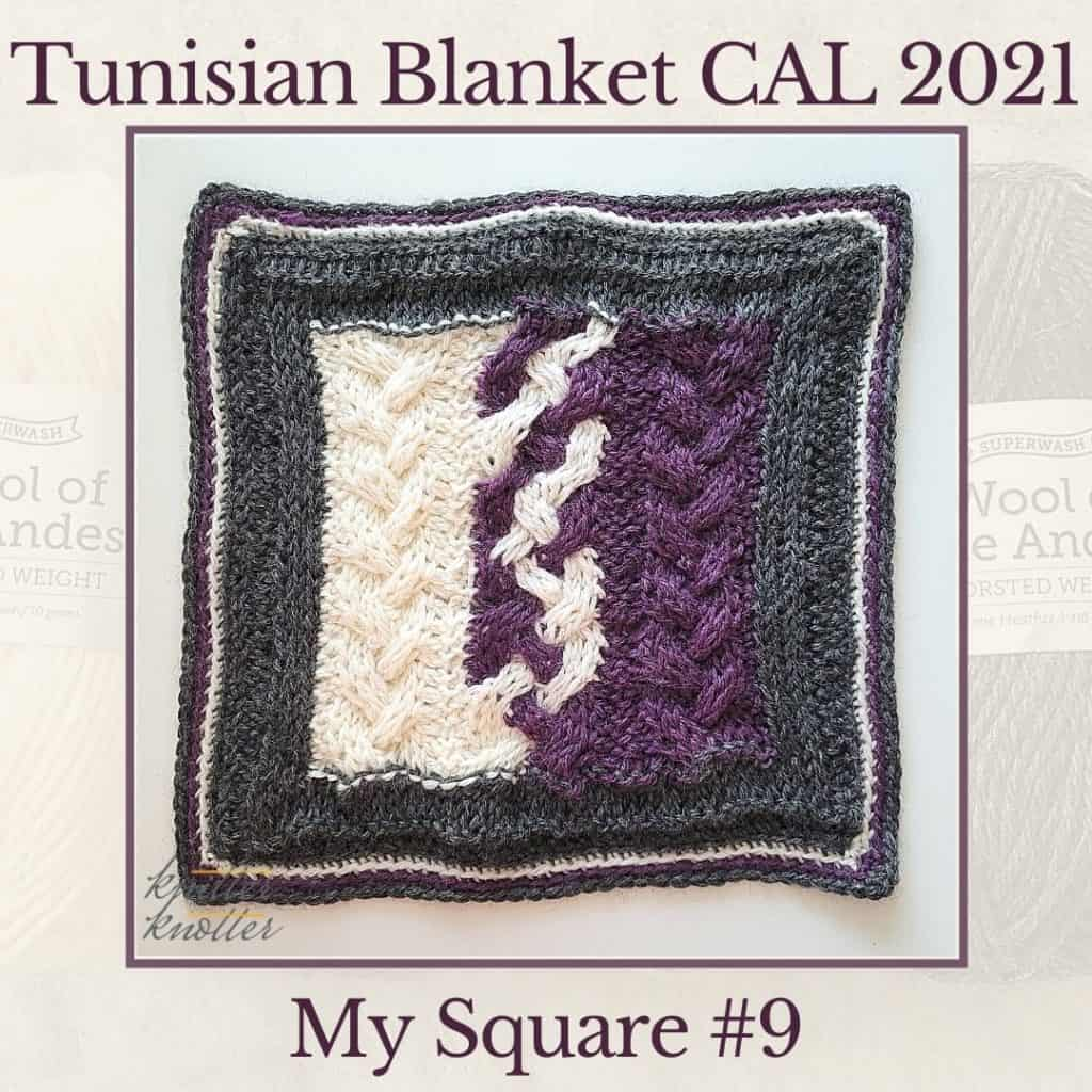 Tunisian knit and purl stitches used to make a cabled pattern for the ninth square of the Tunisian Blanket CAL of 2021.