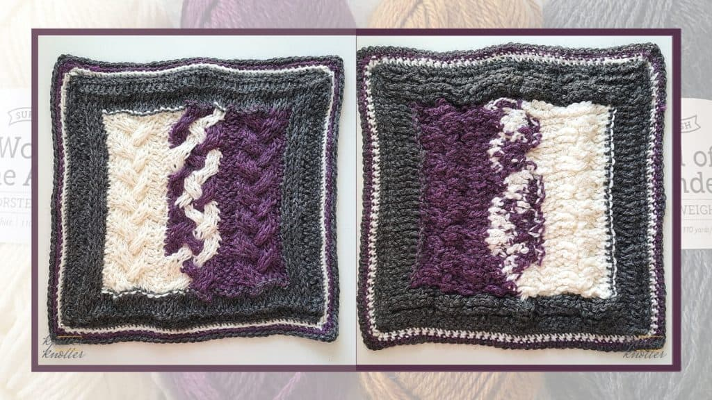 Front and back of the ninth square of the 2021 CAL hosted by KnitterKnotter