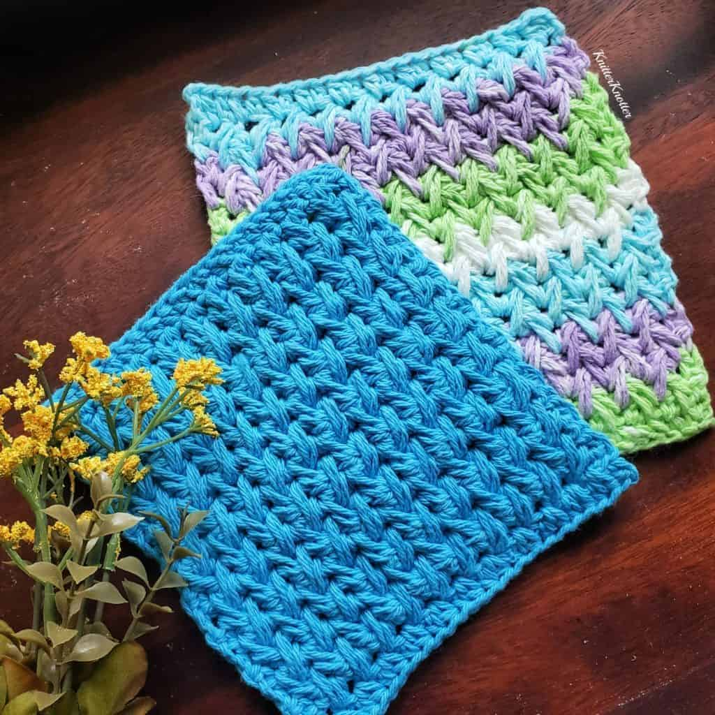 Dishcloths made using the Feather Stitch in traditional crochet. This pattern is a part of a stash busting round up published in 2021.