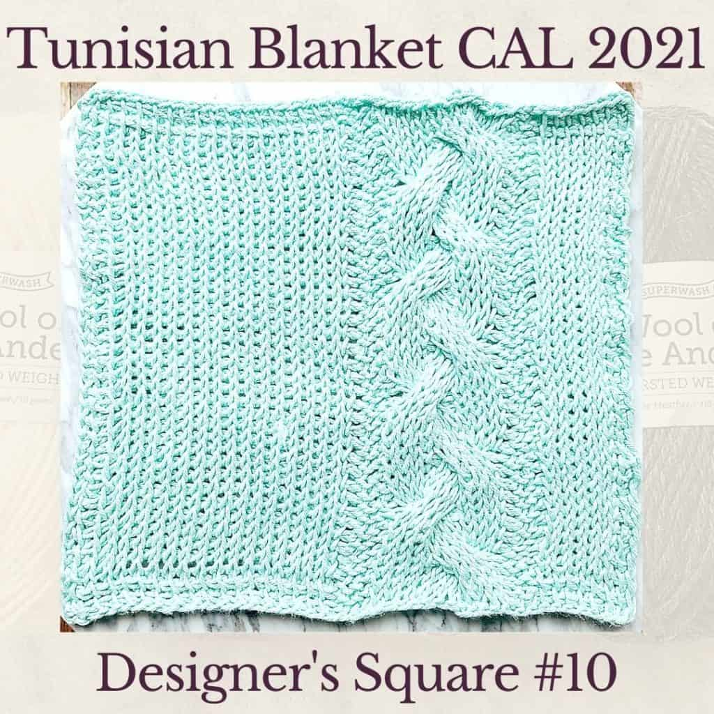 The tenth square crochet afghan pattern from the KnitterKnotter blanket CAL of 2021