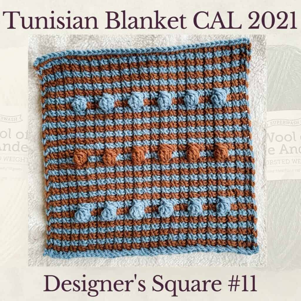 The eleventh square crochet afghan pattern from the KnitterKnotter blanket CAL of 2021
