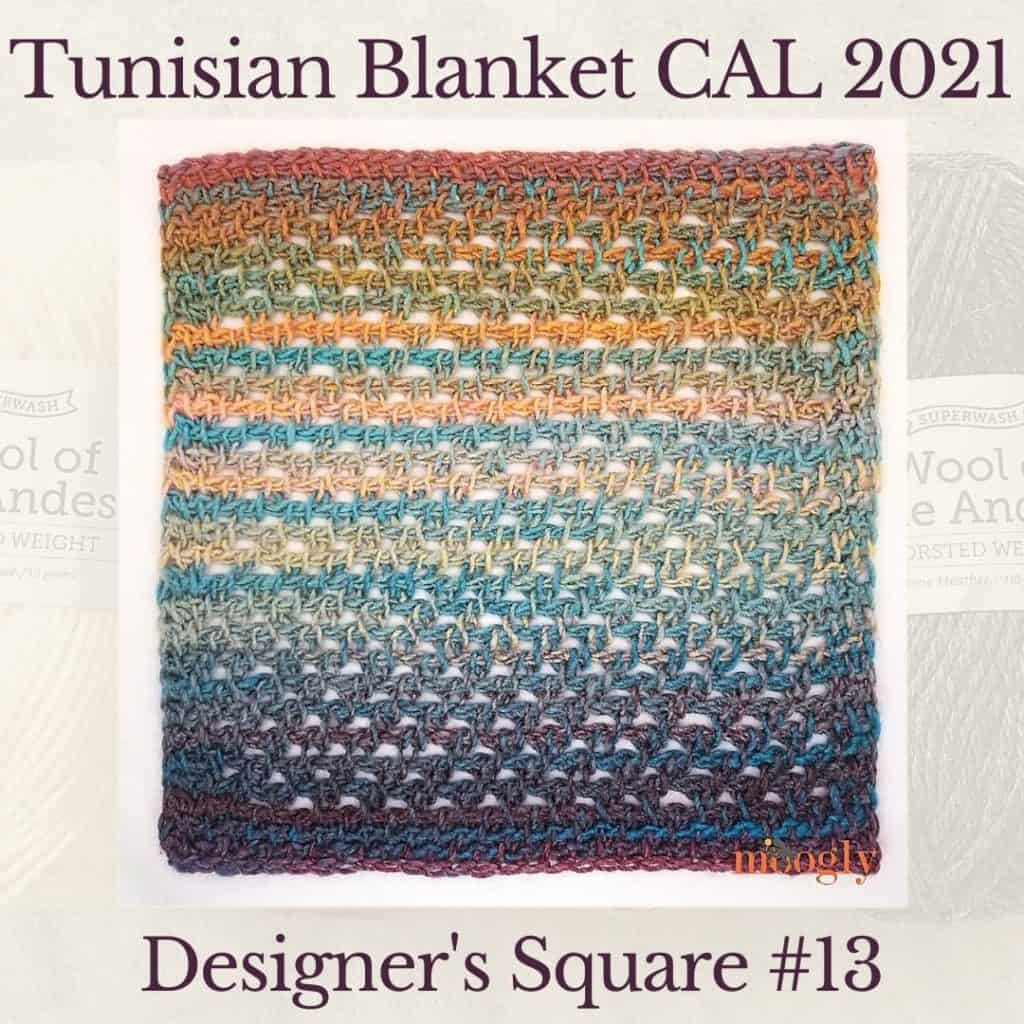 The thirteenth square crochet afghan pattern from the KnitterKnotter blanket CAL of 2021