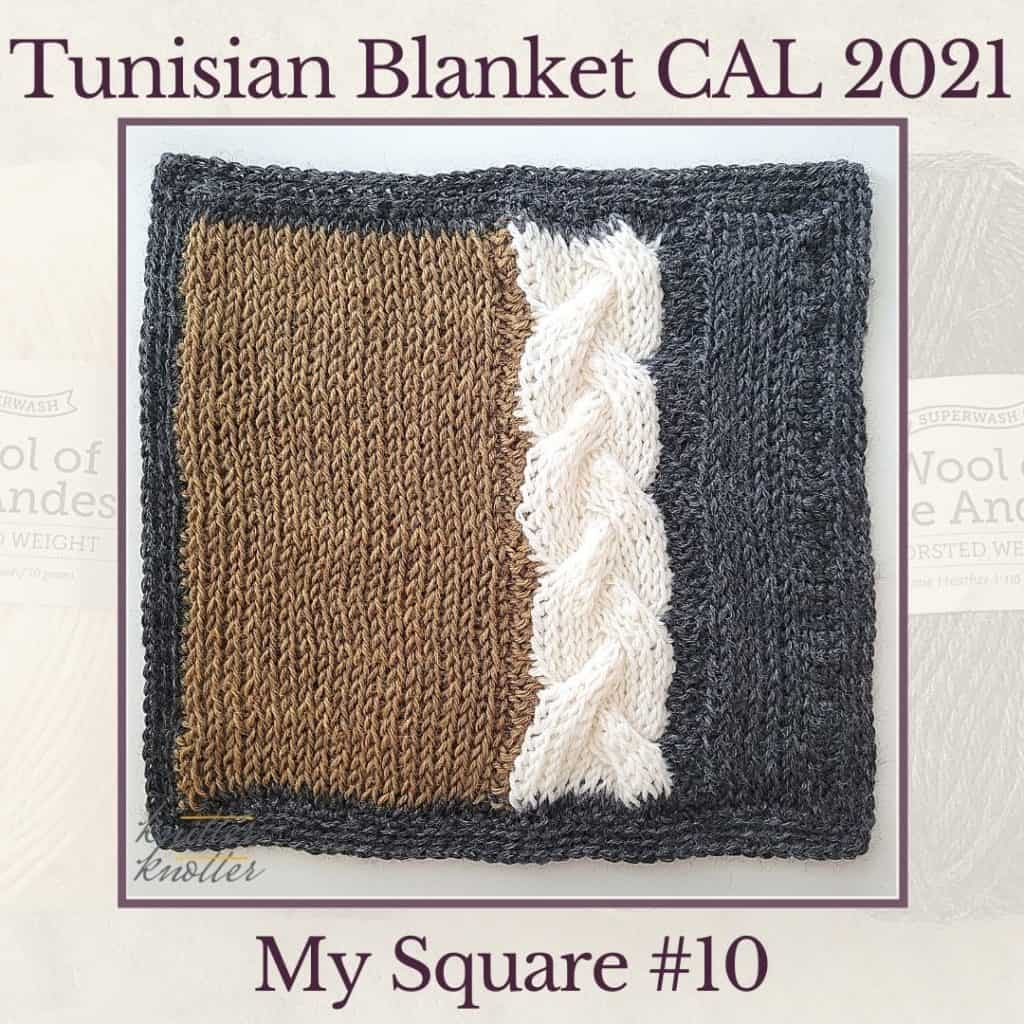 Knit and purl stitches used to make the cables of the tenth  square of the Tunisian Blanket CAL of 2021.