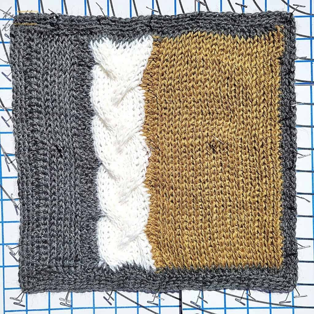 Blocking the block designed by ChiWei from 1dogwoof - cable crochet using Tunisian knit and purl stitches - 2021 CAL hosted by KnitterKnotter