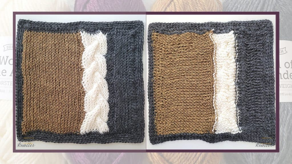 Front and back of the tenth square of the 2021 CAL hosted by KnitterKnotter