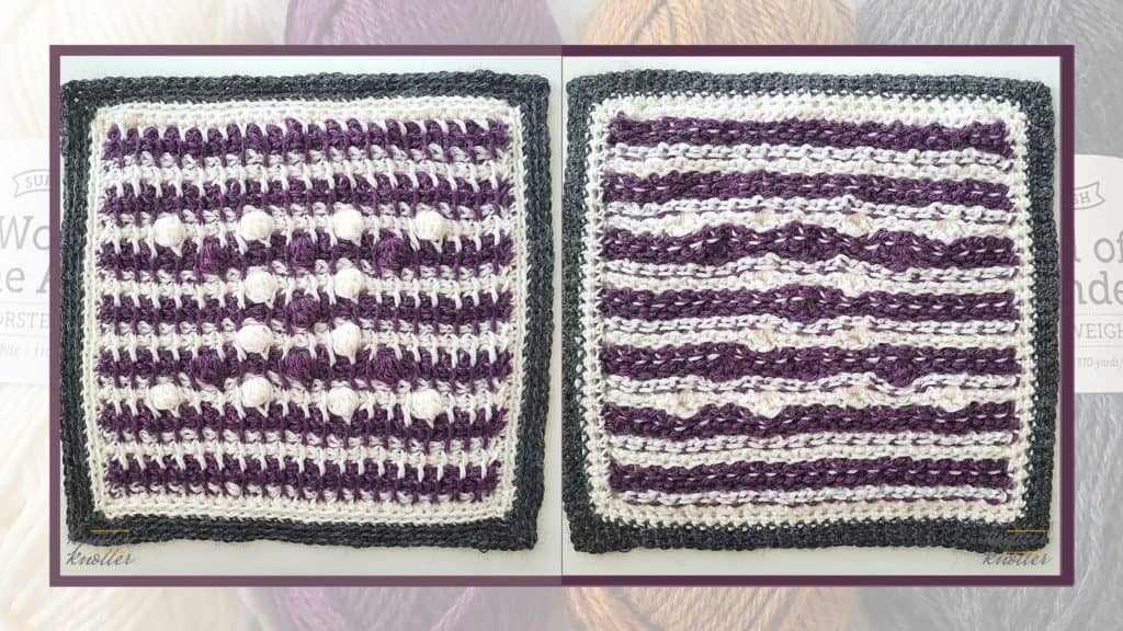 Front and back of the eleventh square of the 2021 CAL hosted by KnitterKnotter