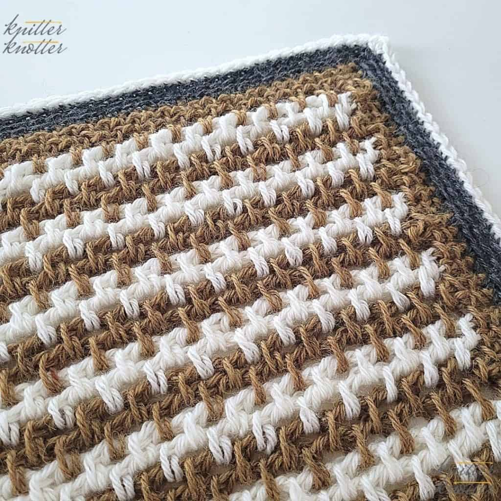 Crochet stitches for blankets - used Tunisian Moss Stitch, and Tunisian Reverse & Simple Stitches worked together.