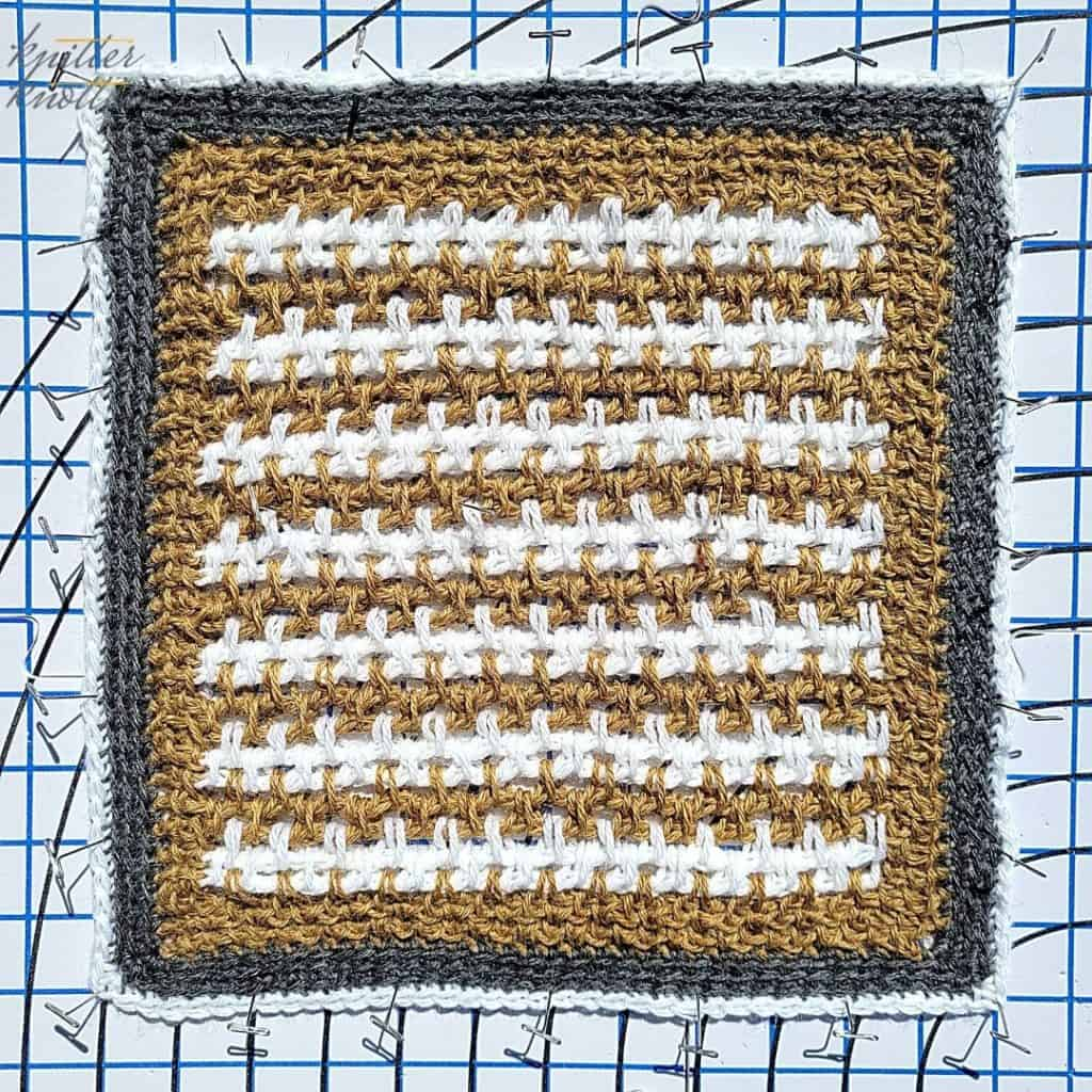 Blocking the block designed by Tamara from Moogly - Screen Window Square - 2021 CAL hosted by KnitterKnotter