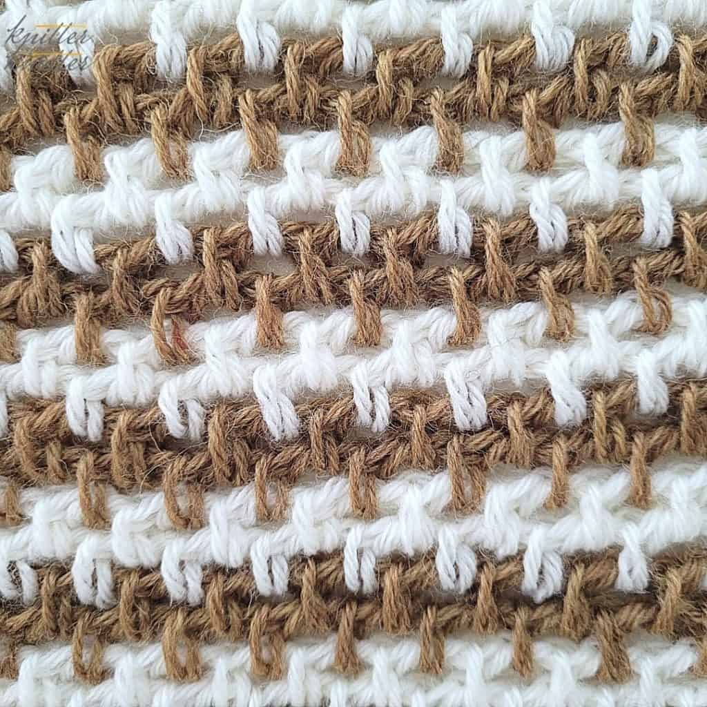 Close up of the thirteenth block of the crochet afghan from KnitterKnotter Blanket CAL of 2021