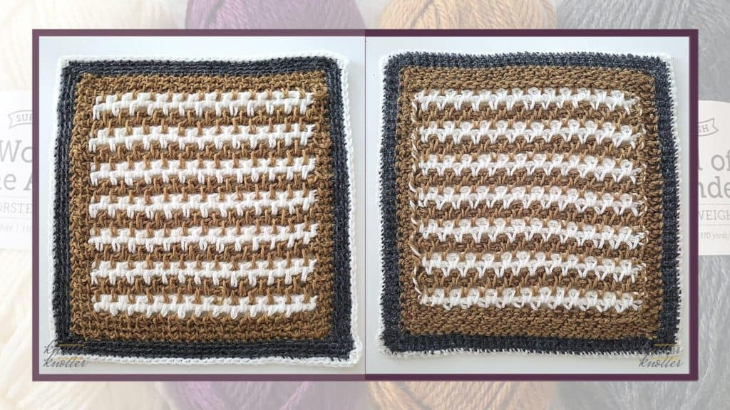 Front and back of the thirteenth square of the 2021 CAL hosted by KnitterKnotter