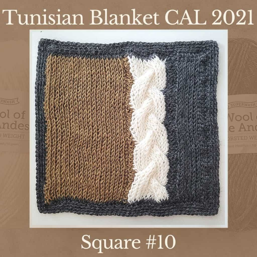 The tenth square of the Tunisian Sampler Blanket / Afghan CAL of 2021 hosted by KnitterKnotter.