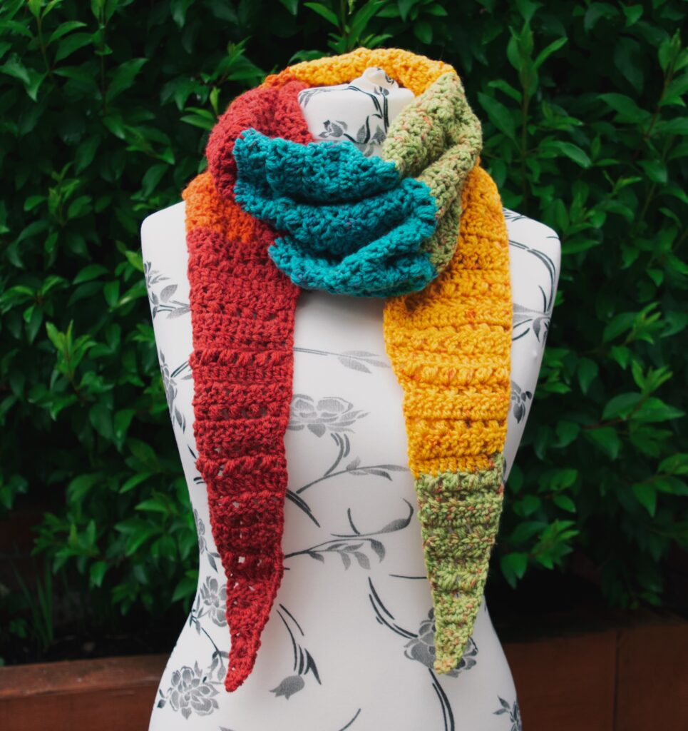 The Paige Mod Scarf is a perfect stash busting pattern.