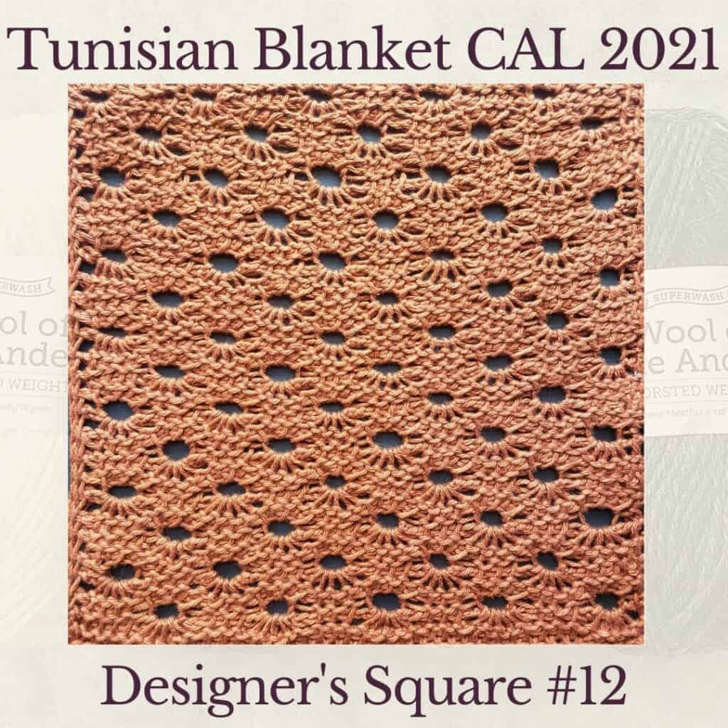 The twelfth square crochet afghan pattern from the KnitterKnotter blanket CAL of 2021