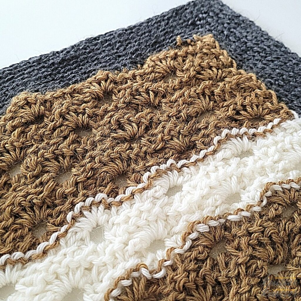 Crochet stitches for blankets - used tunisian purl and tunisian simple stitches worked together.