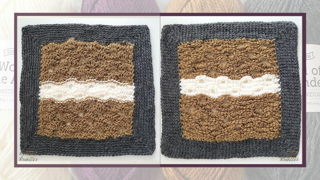 Front and back of the twelfth square of the 2021 CAL hosted by KnitterKnotter