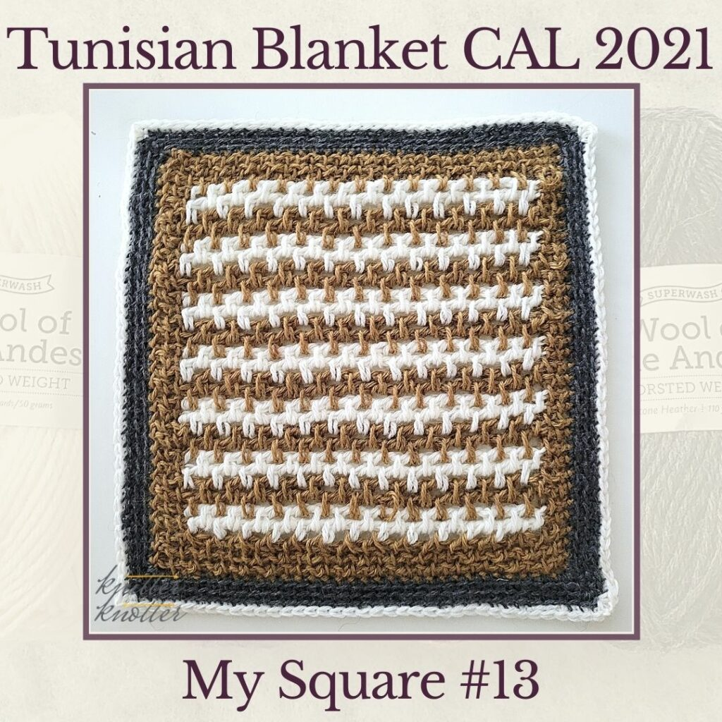 Tunisian Moss Stitch makes up the thirteenth square of the Tunisian Blanket CAL of 2021.