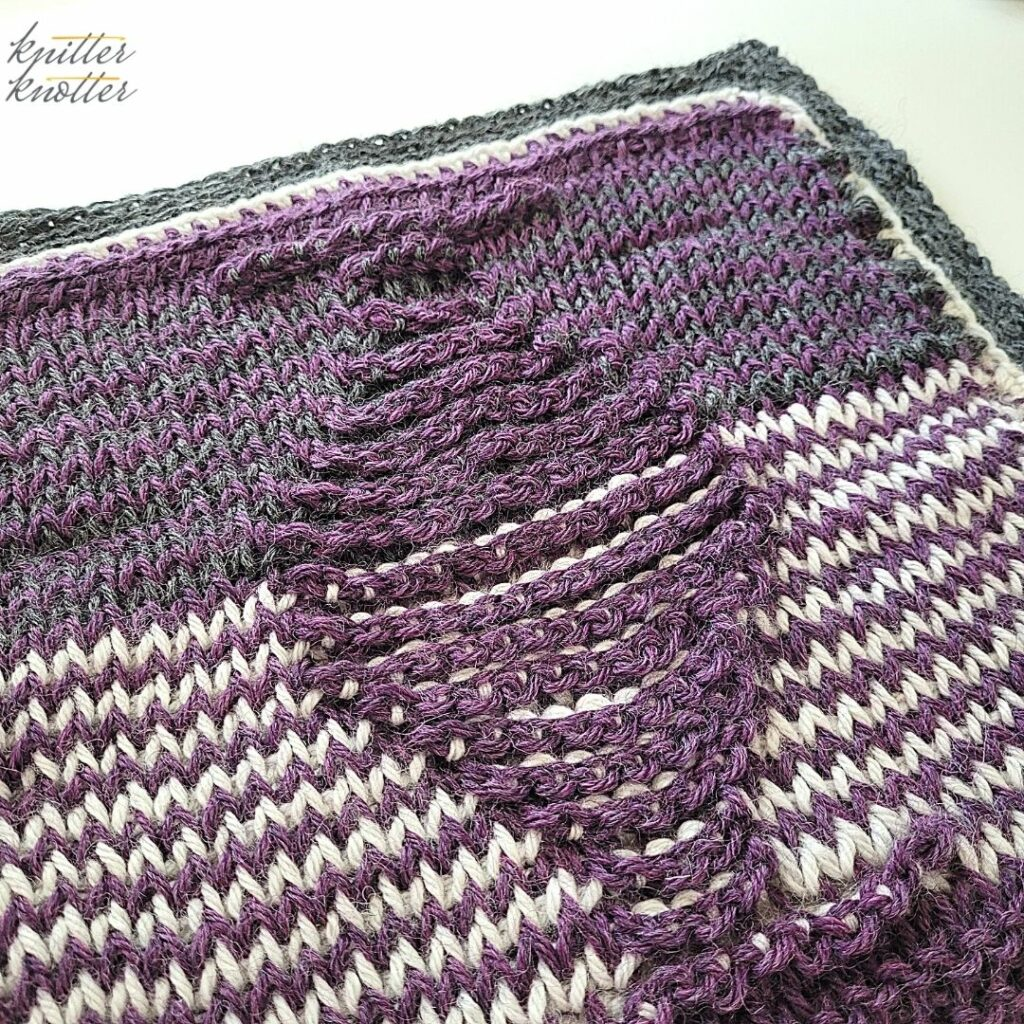 Tunisian Crochet Knit and Tunisian Purl Stitches worked together to make the 14th square of the Tunisian Blanket CAL
