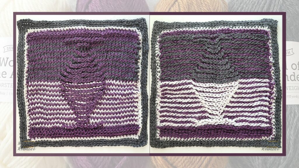 Front and back of the fourteenth square of the 2021 CAL hosted by KnitterKnotter
