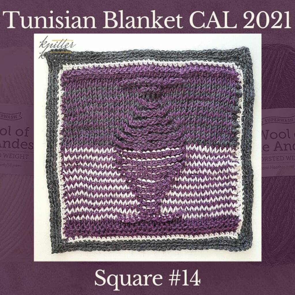 The fourteenth square of the Tunisian Sampler Blanket / Afghan CAL of 2021 hosted by KnitterKnotter. It is worked flat with a double ended Tunisian crochet hook.