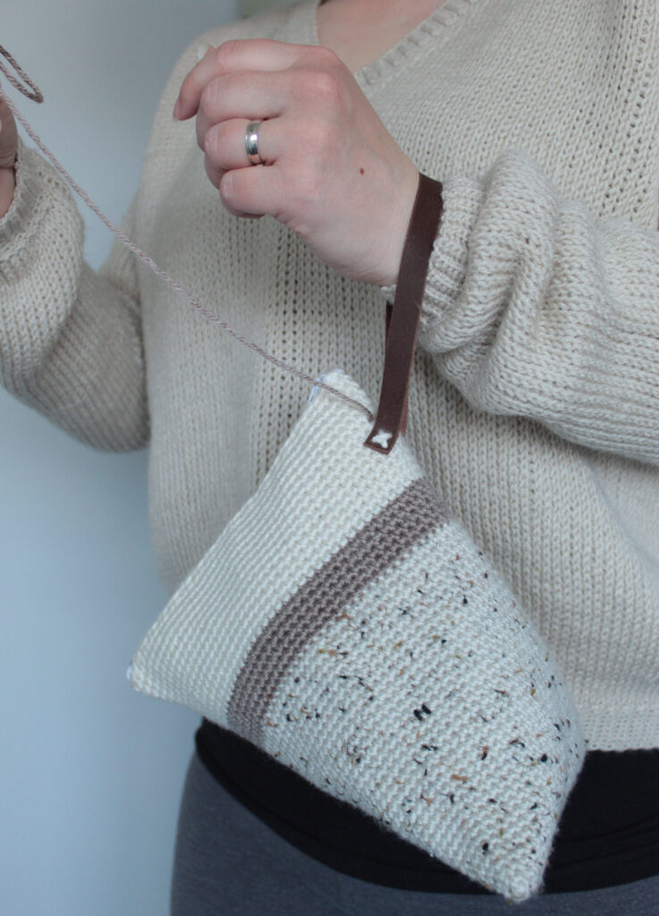 Wedge project bag is a perfect small scrap yarn project.