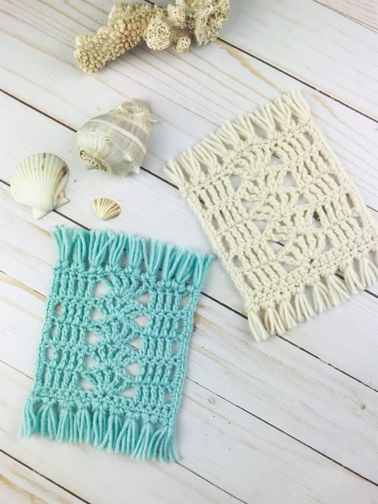 What can you knit with your yarn stash? These Seaside Mug Rugs by Desert Blossom Crafts are perfect stash buster! There are a great beginner project too!